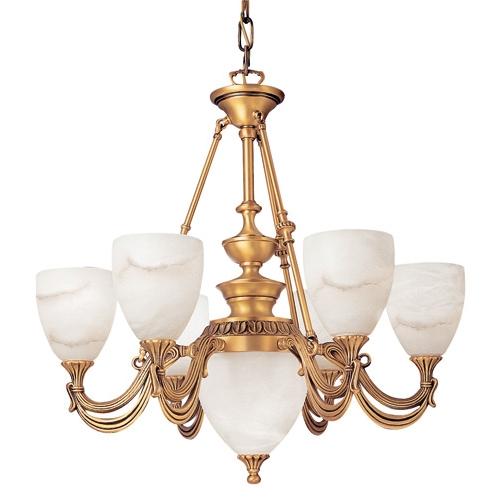 Lámpara 7l Niagara Patine rojizo Alabastro blanco