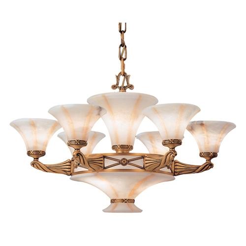 Lámpara 11l Muse Patine rojizo Alabastro blanco con talla beige