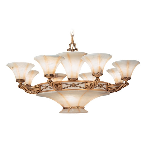 Lámpara 14l Muse Patine rojizo Alabastro blanco con talla beige
