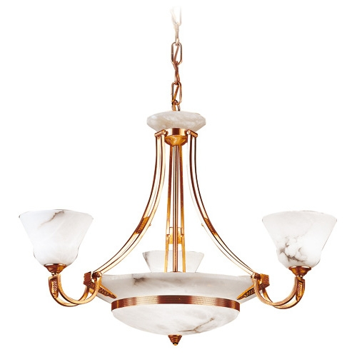 Lámpara Oro/Patine rojizo Alabastro blanco