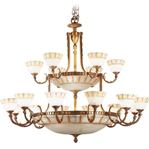 Lámpara Patine rojizo Alabaster mit talla rustica