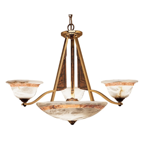 Axe Lamp Brown/Patine Alabaster white with talla Brown