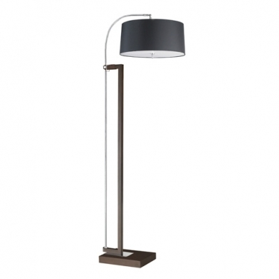 Extend lámpara de Pie 3xE27 max. 60w - Marrón envejecido pantalla negra