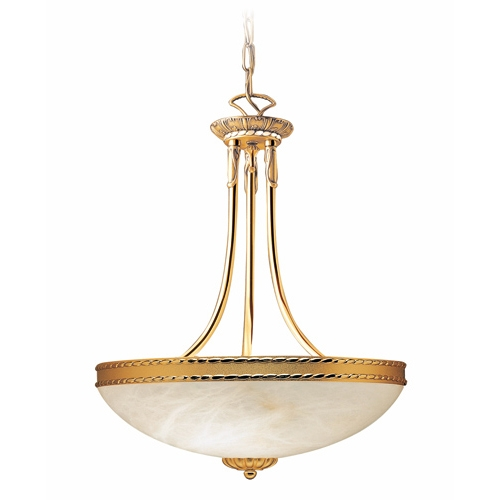 Cobra Pendant Lamp Gold Shiny and Satin Alabaster white