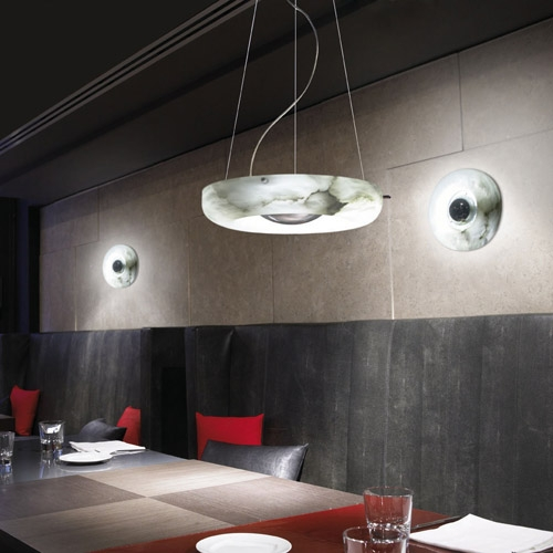 Pendant Lamp Evolution circular Chrome Alabaster white
