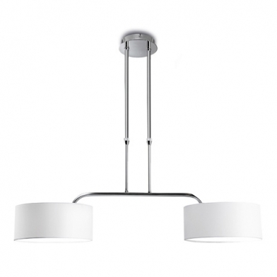 Brooklyn Pendant Lamp 87,5x30x93cm 2xPL E E27 20w Chrome white lampshade