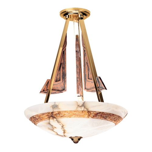 Axe Pendant Lamp Brown/Oro Alabaster white with talla Brown