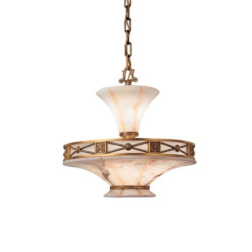 Pendant Lamp Muse Patine rojizo Alabaster white with talla beige