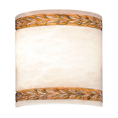 Wall Lamp white Alabaster white with talla Brown