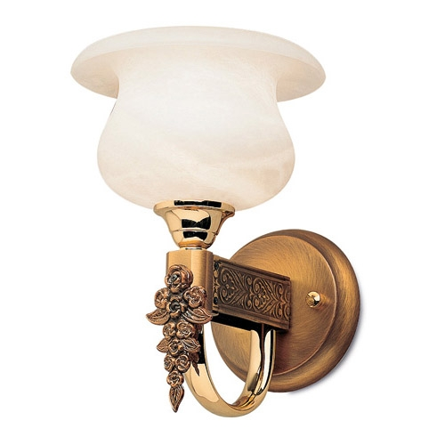 De las Rosas Applique Oro/Patine rojizo Alabastro bianco