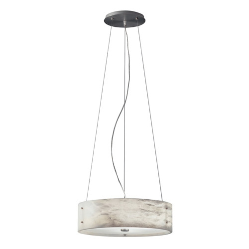 Pendant Lamp Evolution O Nickel Satin Alabaster white
