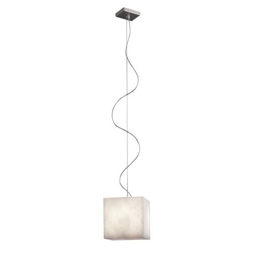 Pendant Lamp Evolution Cube Nickel Satin Alabaster white