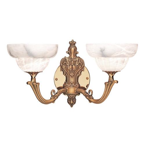 Emporium Aplique Oro/Patine rojizo Alabastro blanco