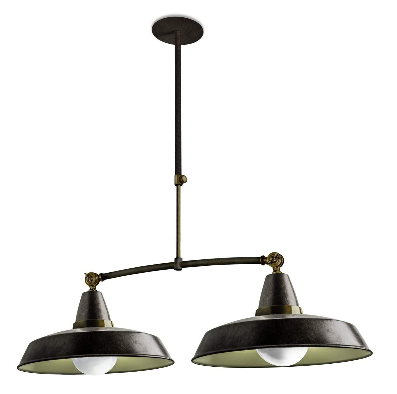 Vintage Lámpara Colgante 2xE27 marrón envejecido ámbar Dorado