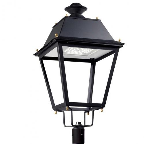 Andalucia Cabezal Farola LED Solar 20 x LED Osram 65W negro forja acabado al horno