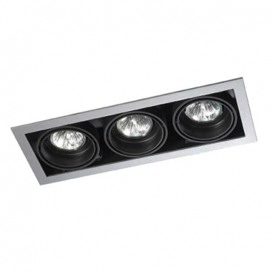 Multidir Downlight triple rectangulaire QR-CBC51 GU5.3 Gris