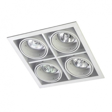 Multidir Downlight quadruple Carrée QR-CBC51 GU5.3 Blanc