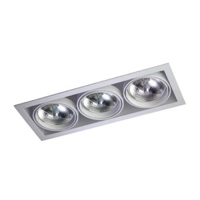 Multidir Downlight triple rectangular QR-111 G53 Gris