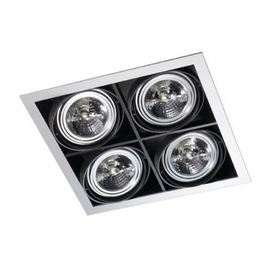 Multidir Downlight quadruple Carrée QR-111 G53 Blanc