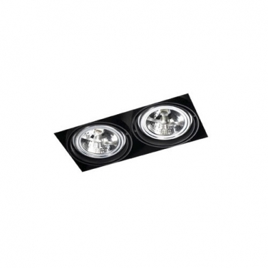 Multidir Trimless Downlight Double rectangulaire QR-111 G53 Noir