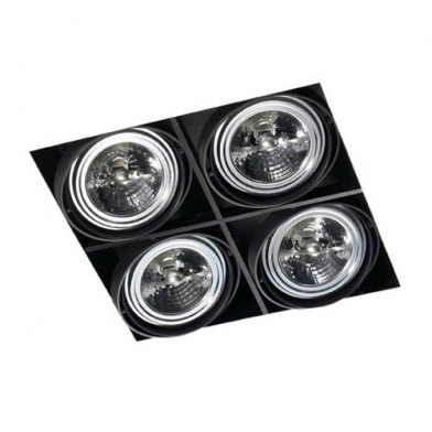 Multidir Trimless Downlight Cuádruple Cuadrado QR-111 G53 negro