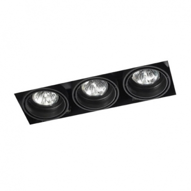 Multidir Trimless Downlight triplo retangular QR-CBC51 GU5.3 Preto