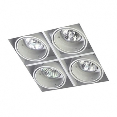 Multidir Trimless Downlight Cuádruple Cuadrado QR-CBC51 GU5.3 blanco