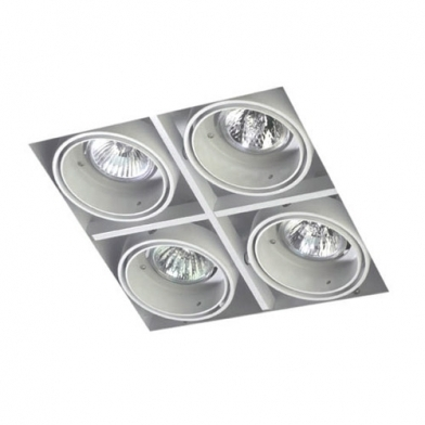 Multidir Trimless Downlight quádruplo Quadrada QR-CBC51 GU5.3 Preto