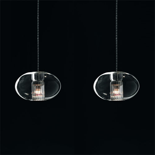 Fairy SG D3 Pendant Lamp geoid offset triple Glass/Chrome