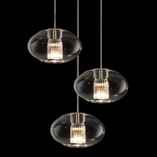 Fairy SG R3 Pendant Lamp geoide triple spiral Glass/Chrome
