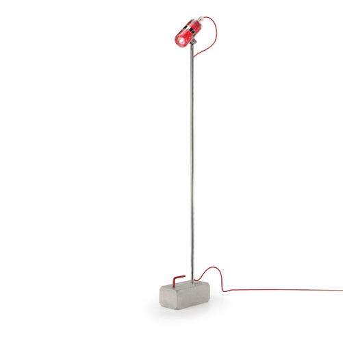Shaker TR 1 lamp of Floor Lamp base cemento lampshade net cable Red