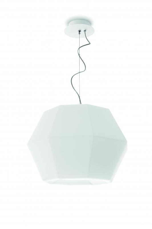Ottagono Pendant Lamp Single 133cm E27 70w Glass opal