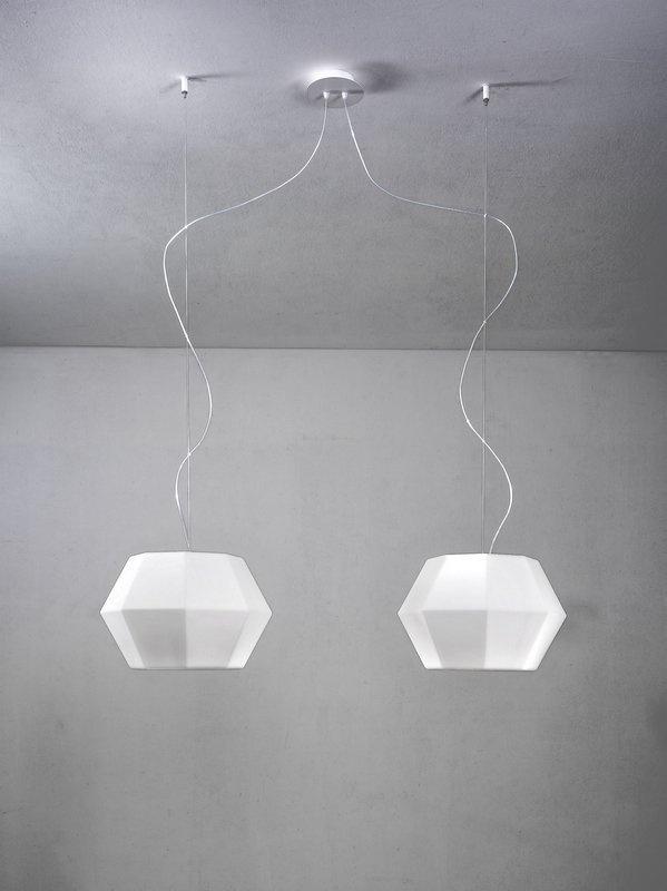 Ottagono Pendant Lamp Doble 133cm E27 2x70w Glass opal