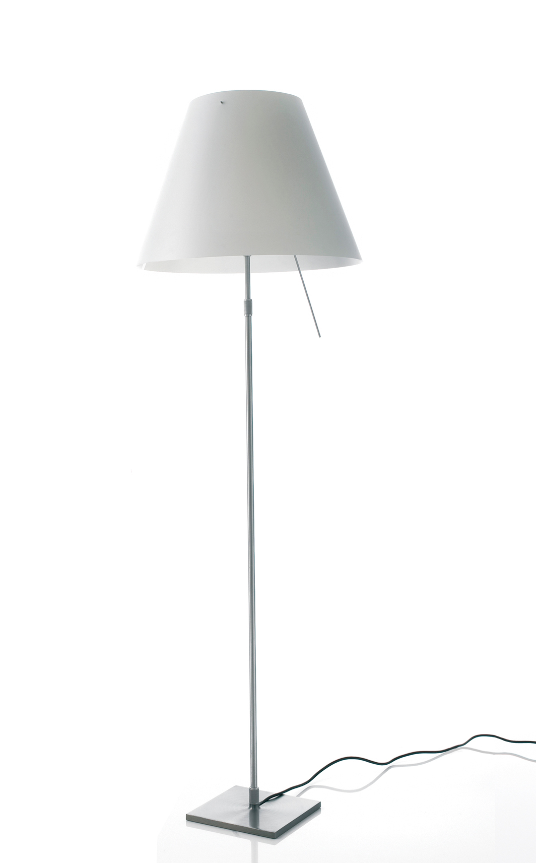 Costanza Floor Lamp Complete telescópica with dimmer + white lampshade + Accessory Diffuser E27 105w - Aluminium