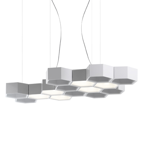 Honeycomb (Solo Structure) Lamp Pendant Lamp 3 bodies + Hooks - white Shiny