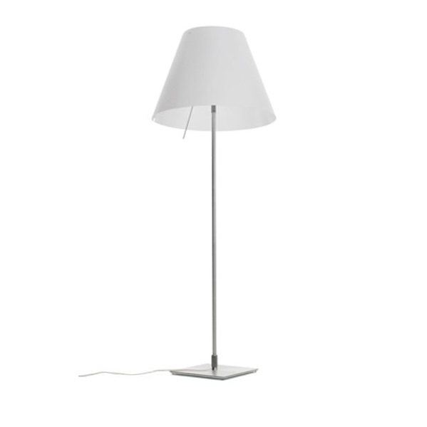Large Costanza Floor Lamp Complete telescópica with switch white lampshade E27 3x23w - Aluminium