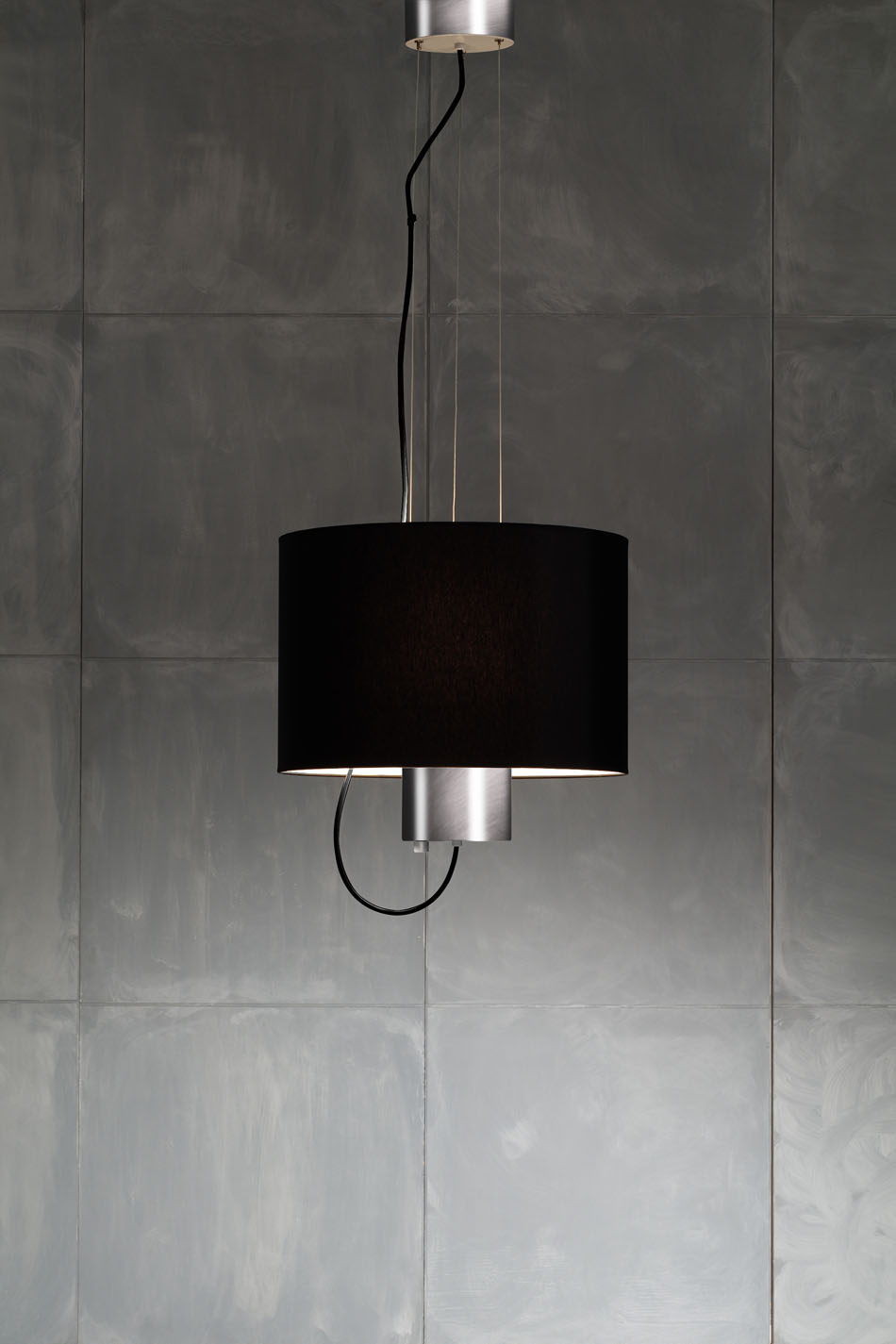 2121 3 Pendant Lamp Nickel with white lampshade