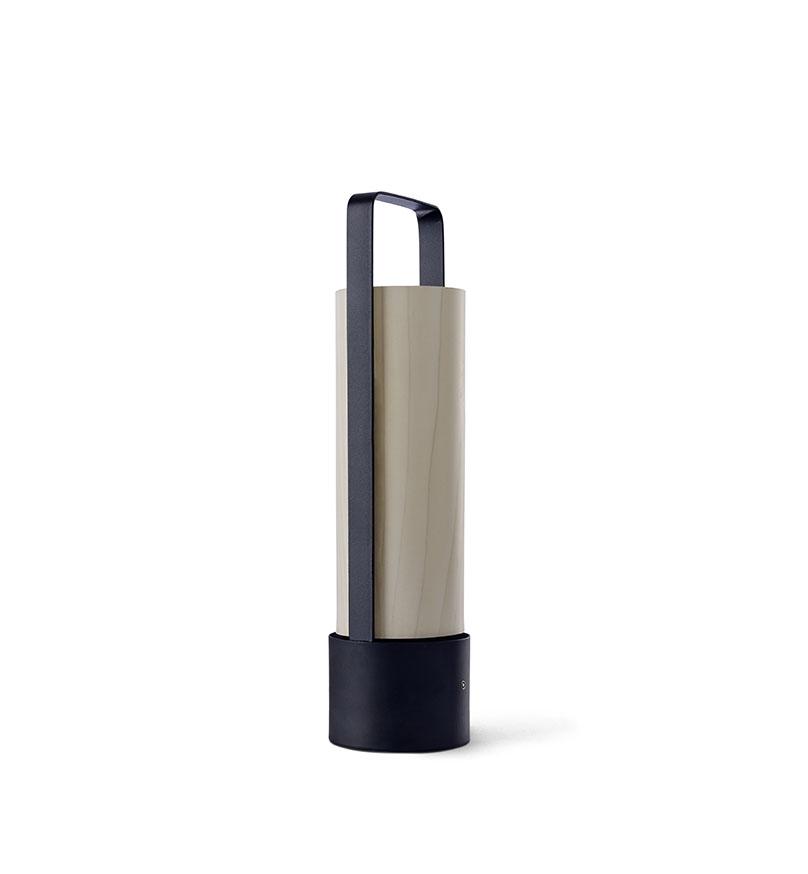 Piknik M Lámpara portátil LED 3x1W dimable 37x9,7cm Estructura negro níquel madera blanca
