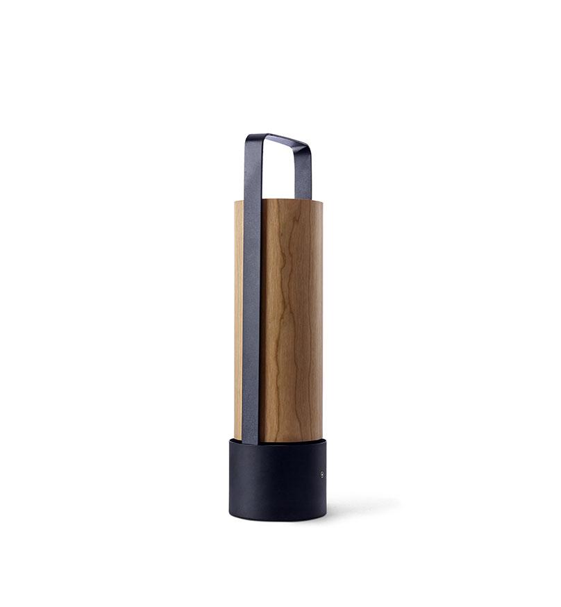 Piknik M Lámpara portátil LED 3x1W dimable 37x9,7cm Estructura negro níquel madera cerezo