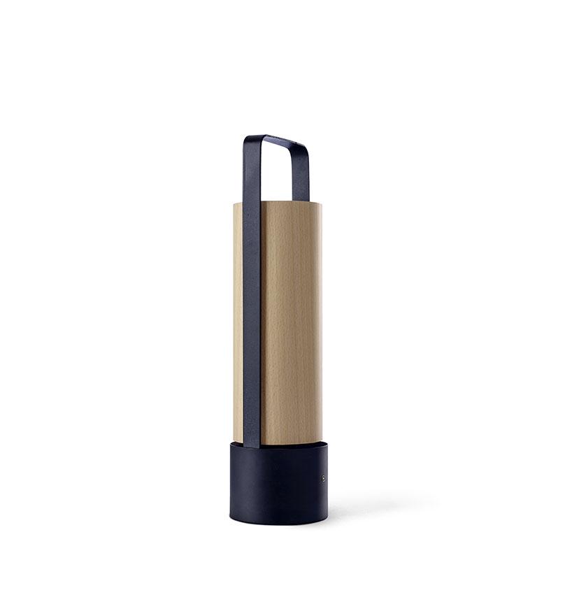 Piknik M Lámpara portátil LED 3x1W dimable 37x9,7cm Estructura negro níquel madera haya