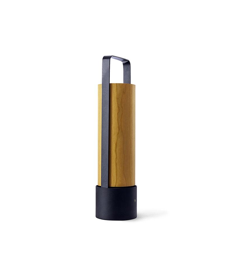 Piknik M Lámpara portátil LED 3x1W dimable 37x9,7cm Estructura negro níquel madera amarillo