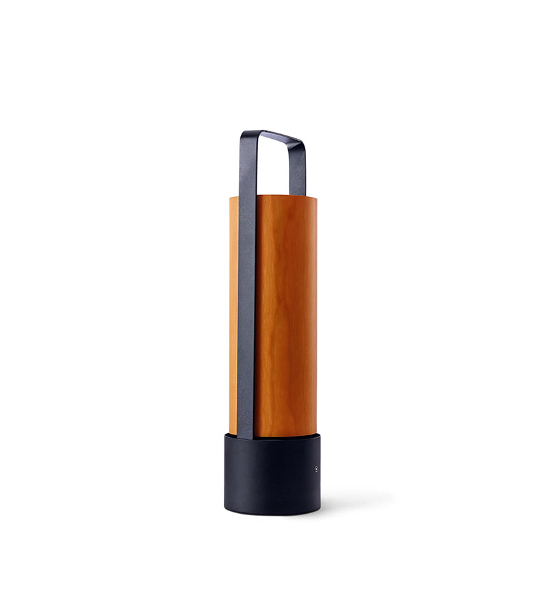 Piknik M Lámpara portátil LED 3x1W dimable 37x9,7cm Estructura negro níquel madera naranja