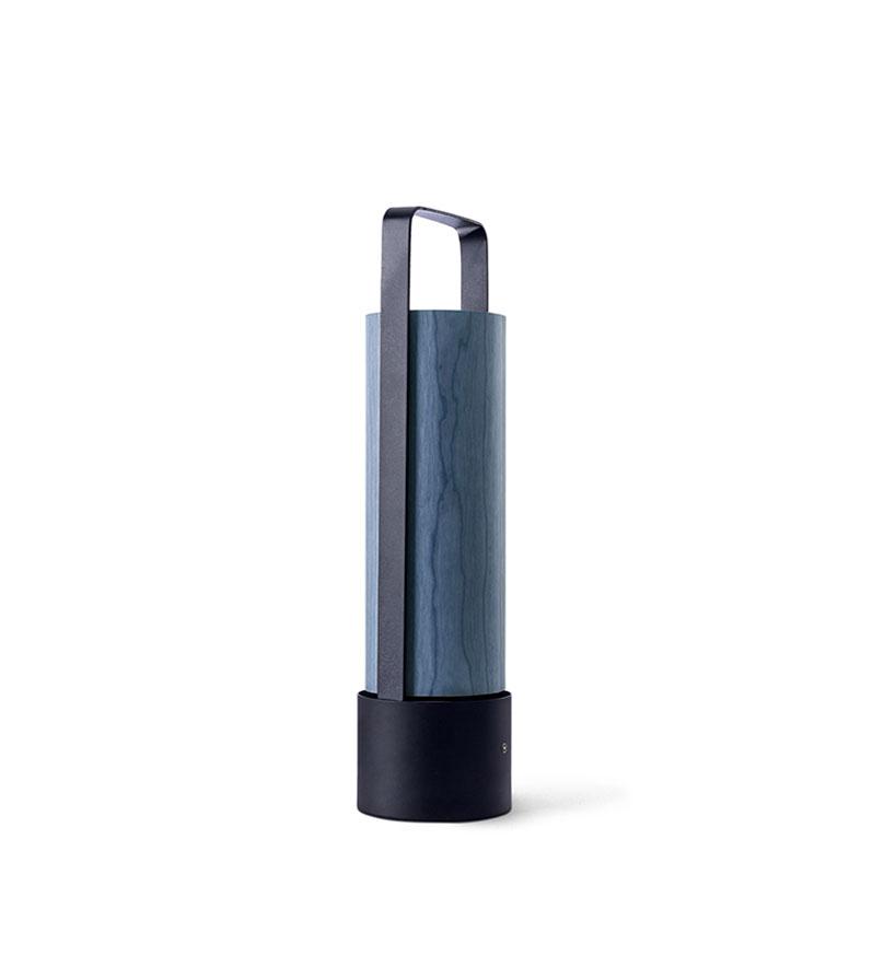 Piknik M Lámpara portátil LED 3x1W dimable 37x9,7cm Estructura negro níquel madera azul