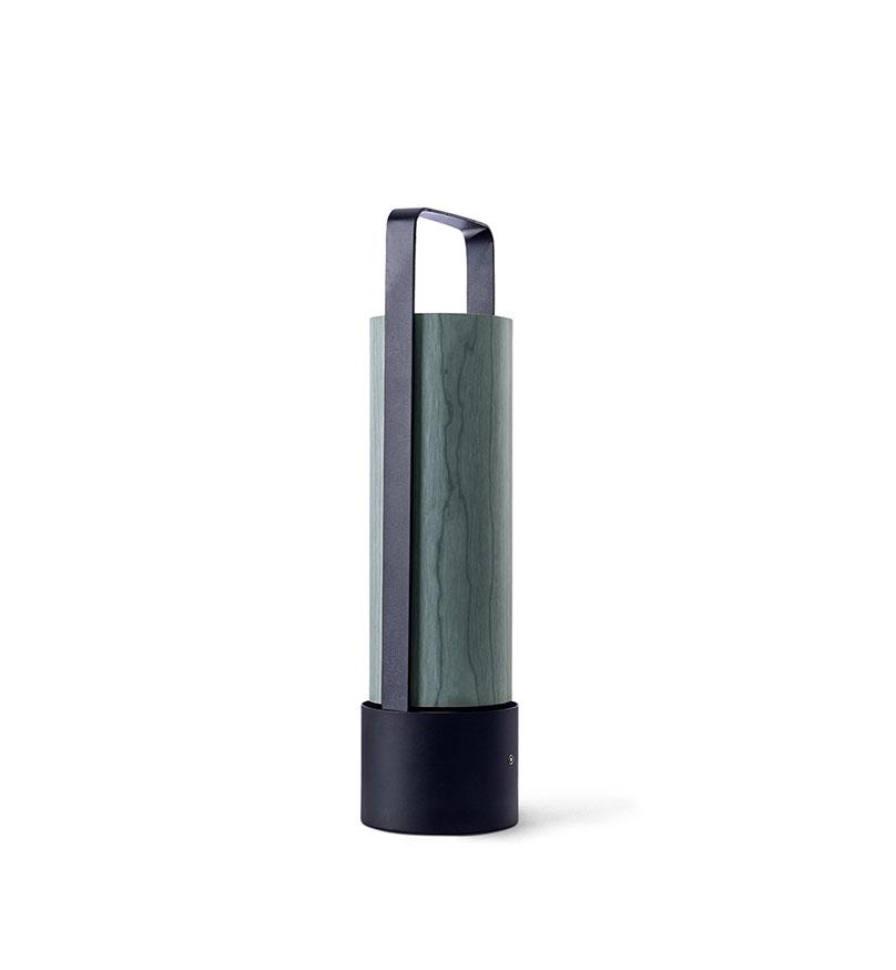 Piknik M Lámpara portátil LED 3x1W dimable 37x9,7cm Estructura negro níquel madera turquesa