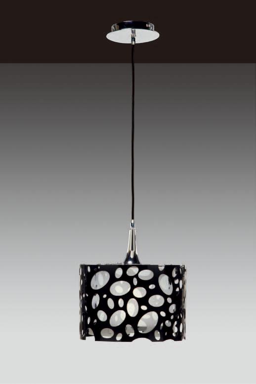 Moon Pendant Lamp Chrome/white + Black 1L