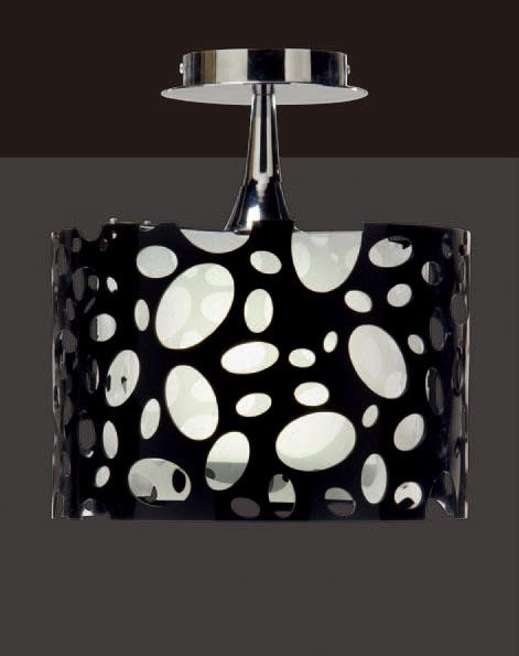 Moon Lamp semiceiling lamp Chrome/white + Black 1L