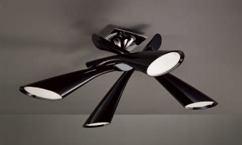 Pop Lamp plafón/Semiceiling lamp Lacquered Black 4L