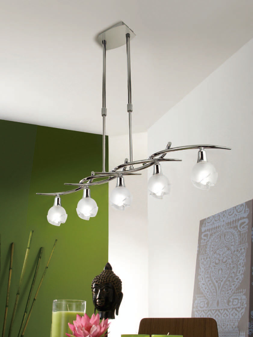 Bali Pendant Lamp linear Chrome 5L G9