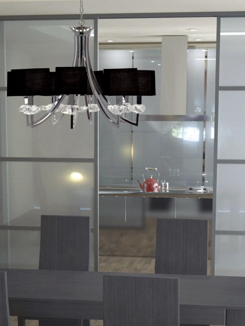 Akira Pendant Lamp Chrome/Black 8L