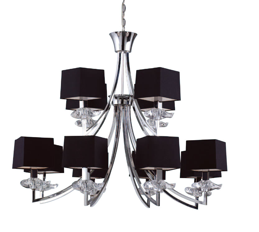 Akira Pendant Lamp Chrome/Black 8 + 4L
